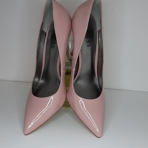Guess Women's Pink Patent Pointed High Heel Shoes